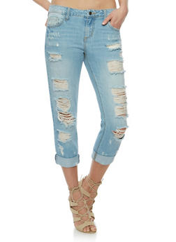 Cello Distressed Roll Cuff Jeans - 3074063153826