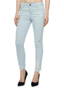 Cello Distressed Light Wash Skinny Jeans - 3074063154242