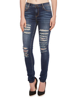 Cello Distressed Skinny Jeans with Five-Pocket Design - 3074063154828