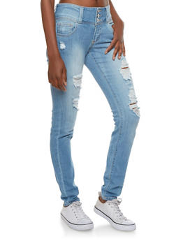 Cello High Waisted Skinny Jeans with Distressing at Front - 3074063154850