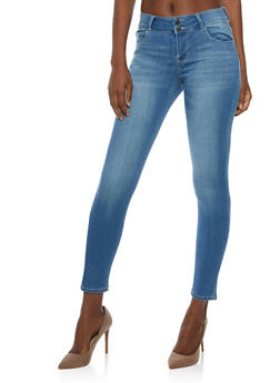 Cello 2 Button Whisker Wash Skinny Jeans - 3074063154930