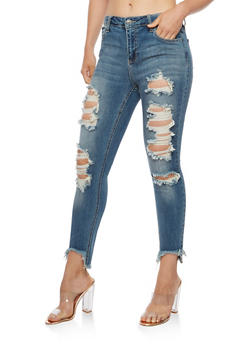 Cello Destroyed Skinny Jeans with Frayed Hem - 3074063155282