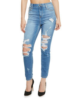 Cello Distressed Whisker Wash Jeans - 3074063155328