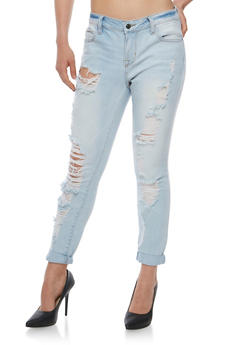 Cello Light Wash Jeans with Rolled Cuffs - 3074063155422