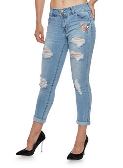 Cello Rose Embroidered Skinny Jeans - 3074063155602