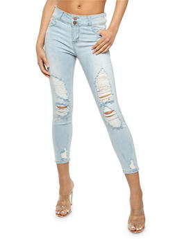 Cello Destroyed Cropped Skinny Jeans - 3074063155605
