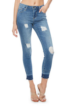 Cello Destroyed Frayed Cropped Jeans - 3074063155631