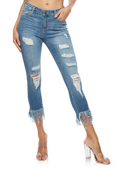 Cello Long Fringe Destroyed Cropped Jeans - 3074063155660