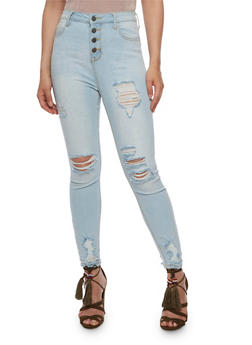 Cello 4 Button Ripped Skinny Jeans - 3074063155662
