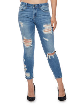 Cello Whisker Wash Cropped Jeans - 3074063157522