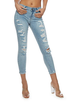 Cello Destroyed Cropped Jeans - 3074063157542