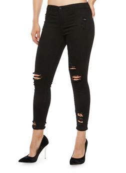Cello Destroyed Cropped Skinny Jeans - 3074063157552