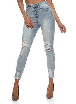 Cello Distressed Skinny Jeans with Frayed Hem - 3074063157554