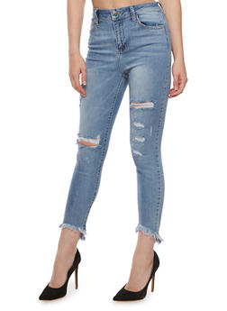 Cello Distressed High Low Hem Skinny Jeans - 3074063157558