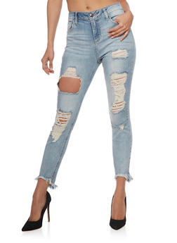 Cello Destroyed Whisker Wash Skinny Jeans - 3074063157639