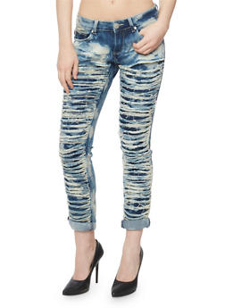 Cloud Wash Destroyed Skinny Jeans - 3074063403715