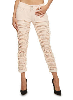 Solid Destroyed Front Skinny Jeans - 3074063403841