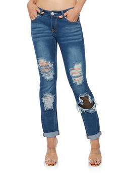 Destroyed Skinny Jeans with Mesh Insert and Rolled Cuff - 3074063405156