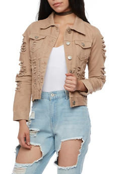 Destroyed Colored Denim Jacket - 3074063405527