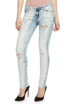 VIP Light Acid Wash Distressed Skinny Jeans - 3074065300857