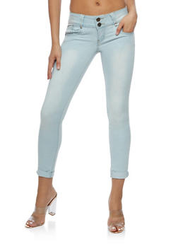 VIP Two Button Whisker Wash Skinny Jeans - 3074065301714