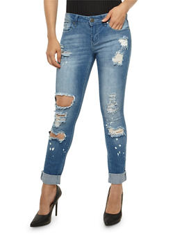 VIP Rolled Cuff Destroyed Skinny Jeans - 3074065301867
