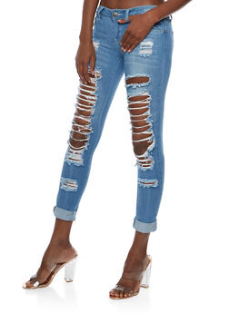 VIP Destroyed Light Wash Skinny Jeans - 3074065301883