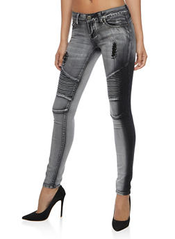 VIP Black Acid Wash Moto Jeans - 3074065301898