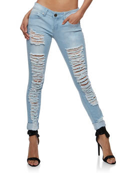 VIP Destroyed Front Skinny Jeans - 3074065301901