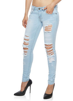 VIP Ripped Light Wash Skinny Jeans - 3074065301953