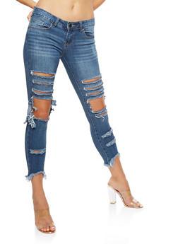 VIP Ripped Frayed Hem Jeans - 3074065302179
