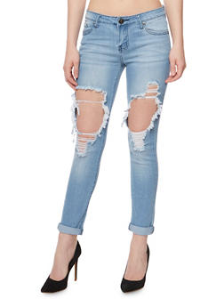 VIP Destroyed Roll Cuff Skinny Jeans - 3074065302283