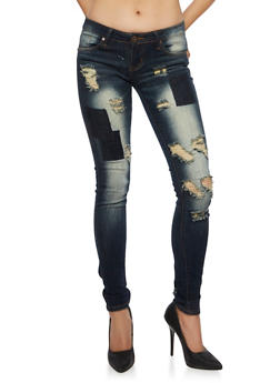 VIP Jeans Distressed Patchwork Skinny Jeans - 3074065302708