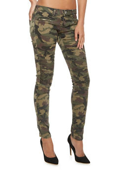Camo Skinny Pants with Moto Stitching - 3074065302710