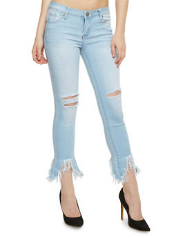 VIP Destroyed Sharkbite Hem Skinny Jeans - 3074065302843