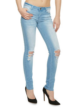 VIP Ripped Knee Faded Wash Jeans - 3074065302844
