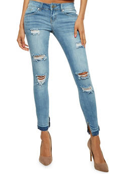 VIP Distressed Whisker Wash Skinny Jeans - 3074065302900