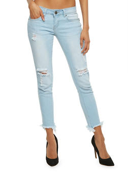VIP Distressed Frayed Hem Skinny Jeans - 3074065302904