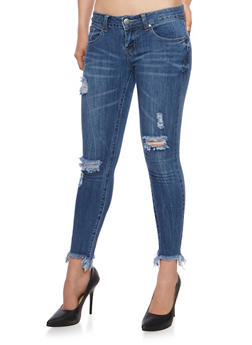 VIP Distressed Skinny Jeans with Frayed Hem - 3074065302905