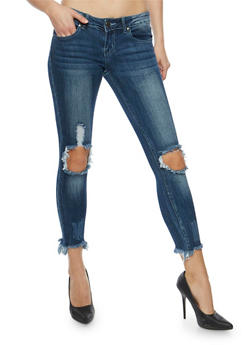 VIP Ripped Knee Jeans with Frayed Hem - 3074065302906