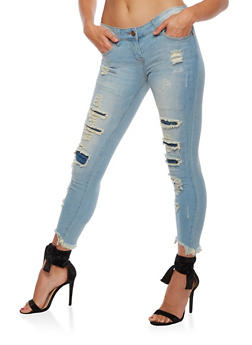 VIP Frayed Skinny Jeans - 3074065302948