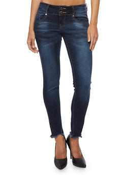 VIP Two Button Skinny Jeans with Frayed Ankle - 3074065302959