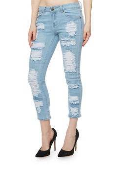 VIP Cropped Rip and Repair Skinny Jeans - 3074065305799
