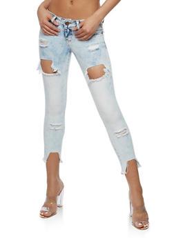 VIP Destroyed Frayed Capri Skinny Jeans - 3074065305889