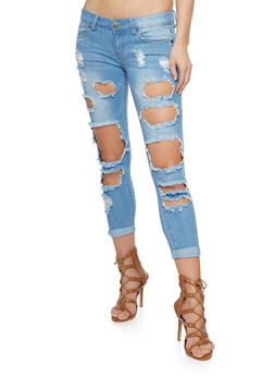 VIP Cuffed Open Hole Skinny Jeans - 3074065305891