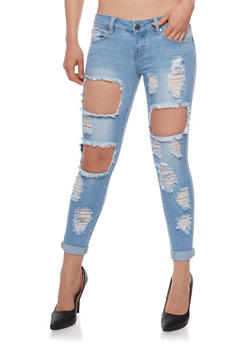 VIP Destroyed Cuffed Skinny Jeans - 3074065305895