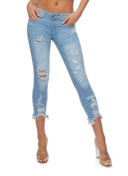 VIP Cropped Destroyed Skinny Jeans - 3074065305933
