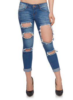 VIP Destroyed Cuffed Skinny Jeans - 3074065306890