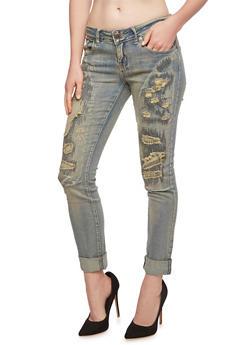 VIP Jeans Rip and Repair Boyfriend Jeans - 3074065307831