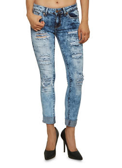 VIP Jeans Acid Wash Distressed Skinny Jeans - 3074065308056